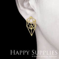 1pair Geometry Golden Silver Rose Golden Brass Earring Post Finding With Ear Studs Back Stoppers ZEN312