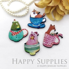 4Pcs Mini Handmade Wooden Laser Cut Cup Animal Charms / Pendants