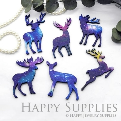 4Pcs Mini Handmade Wooden Laser Cut Christmas Deer Charms / Pendants