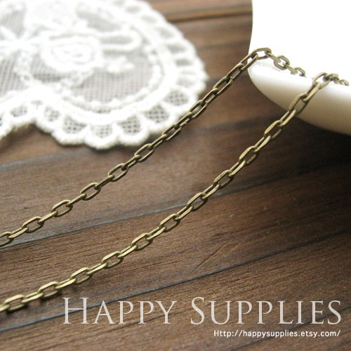 16.6 Feet (2X1.4mm) Nickel Free - 2X1.4mm Antique Bronze Cross O Brass Chains (W110)