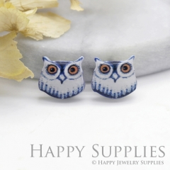 4pcs (2 Pairs) Laser Cut Mini Acrylic Resin Owl Laser Cut Jewelry Pendant Charm (AR195)