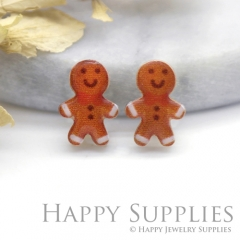 4pcs (2 Pairs) Laser Cut Mini Acrylic Resin Gingerbread Laser Cut Jewelry Pendant Charm (AR190)