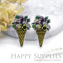 2pcs (1 Pairs) Laser Cut Mini Acrylic Resin Flower Ice Cream Laser Cut Jewelry Pendant Charm (AR130)