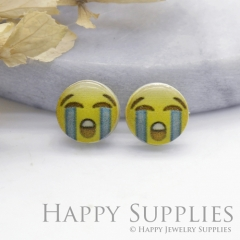 4pcs (2 Pairs) Laser Cut Mini Acrylic Resin Emoji Cry Face Laser Cut Jewelry Pendant Charm (AR161)