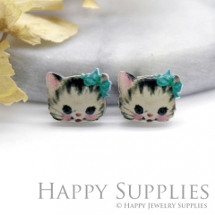 4pcs (2 Pairs) Laser Cut Mini Acrylic Resin Cat Laser Cut Jewelry Pendant Charm (AR198)