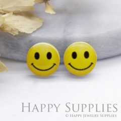 4pcs (2 Pairs) Laser Cut Mini Acrylic Resin Emoji Happy Face Laser Cut Jewelry Pendant Charm (AR183)