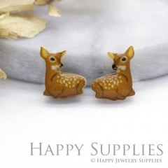 4pcs (2 Pairs) Laser Cut Mini Acrylic Resin Deer Laser Cut Jewelry Pendant Charm (AR189)