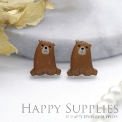 4pcs (2 Pairs) Laser Cut Mini Acrylic Resin Bear Laser Cut Jewelry Pendant Charm (AR131)