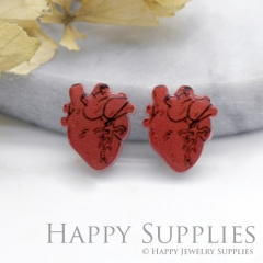 4pcs (2 Pairs) Laser Cut Mini Acrylic Resin Heart Laser Cut Jewelry Pendant Charm (AR162)