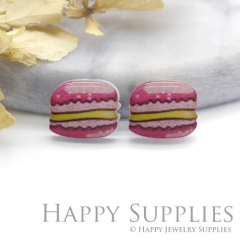 4pcs (2 Pairs) Laser Cut Mini Acrylic Resin Hamburger Laser Cut Jewelry Pendant Charm (AR158)