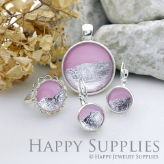 Handmade Pink + Silver Foil Glass Cabochon (FG006-S)