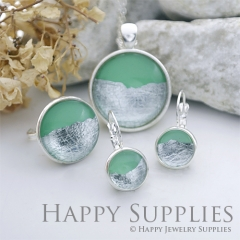 Handmade Green + Silver Foil Glass Cabochon (FG005-S)