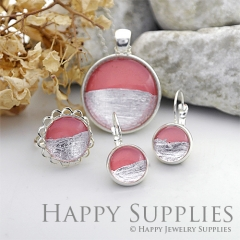 Handmade Dark Pink + Silver Foil Glass Cabochon (FG002-S)