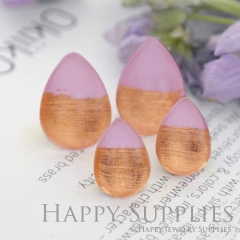 Handmade Light Pink + Rose Gold Foil Teardrop Glass Cabochon (TFG08-R) 10x14mm / 13x18mm / 18x25mm