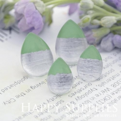 Handmade Light Green + Silver Foil Teardrop Glass Cabochon (TFG09-S) 10x14mm / 13x18mm / 18x25mm