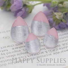 Handmade Light Pink + Silver Foil Teardrop Glass Cabochon (TFG08-S) 10x14mm / 13x18mm / 18x25mm