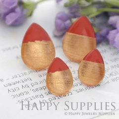 Handmade Red + Rose Gold Foil Teardrop Glass Cabochon (TFG12-R) 10x14mm / 13x18mm / 18x25mm