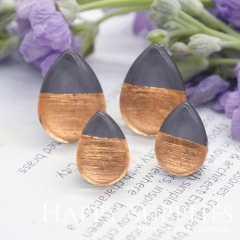 Handmade Dark Grey + Rose Gold Foil Teardrop Glass Cabochon (TFG13-R) 10x14mm / 13x18mm / 18x25mm