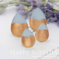 Handmade Blue + Rose Gold Foil Teardrop Glass Cabochon (TFG04-R) 10x14mm / 13x18mm / 18x25mm