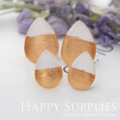 Handmade White + Rose Gold Foil Teardrop Glass Cabochon (TFG11-R) 10x14mm / 13x18mm / 18x25mm