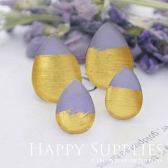 Handmade Purple + Golden Foil Teardrop Glass Cabochon (TFG06-G) 10x14mm / 13x18mm / 18x25mm