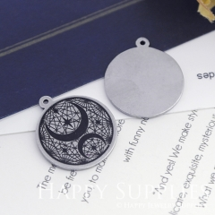 2pcs 20mm Round Titanium Steel Engraving logo Disc, Save Memory, Name, Wedding Date, Special Words, Custom Your Own Design Charms (ST01)