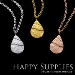 1 set (HBN06) Handmade 24K Golden/ 925 Silver/Rose Gold Brass Statement Teardrop Charm Pendant Necklace (HBE)