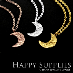1 set (HBN12) Handmade 24K Golden/ 925 Silver/Rose Gold Brass Statement Moon Charm Pendant Necklace (HBE)