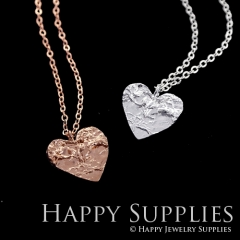 1 set (HBN05) Handmade 24K Golden/ 925 Silver/Rose Gold Brass Statement Heart Charm Pendant Necklace (HBE)