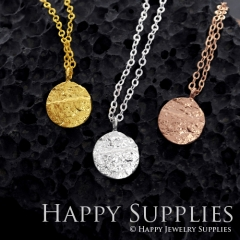 1 set (HBN11) Handmade 24K Golden/ 925 Silver/Rose Gold Brass Statement Round Charm Pendant Necklace (HBE)