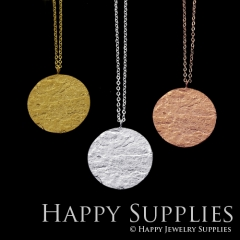 1 set (HBN10) Handmade 24K Golden/ 925 Silver/Rose Gold Brass Statement Round Charm Pendant Necklace (HBE)