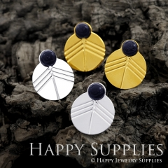 1Pair (GCE04) Exclusive Circle 24K Golden, 925 Silver Corroded Brass Stud Earrings with Blue Goldstone (GCE) Stud Earring