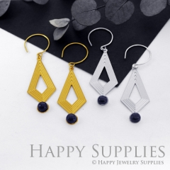 Exclusive Geometric (FCJ03) 24K Golden/ 925 Silver Corroded Brass with Blue Goldstone Drop Earring, Threader Earring, Pendant Necklace GCE