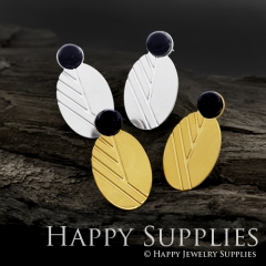 1Pair (GCE02) Exclusive Oval 24K Golden, 925 Silver Corroded Brass Stud Earrings with Blue Goldstone (GCE) Stud Earring