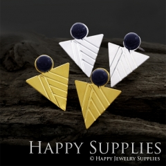 1Pair (GCE05) Exclusive Triangle 24K Golden, 925 Silver Corroded Brass Stud Earrings with Blue Goldstone (GCE) Stud Earring