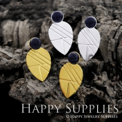 1Pair (GCE01) Exclusive Teardrop 24K Golden, 925 Silver Corroded Brass Stud Earrings with Blue Goldstone (GCE) Stud Earring