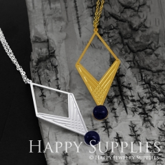 Exclusive Geometric (FCJ08) 24K Golden/ 925 Silver Corroded Brass with Blue Goldstone Drop Earring, Threader Earring, Pendant Necklace GCE