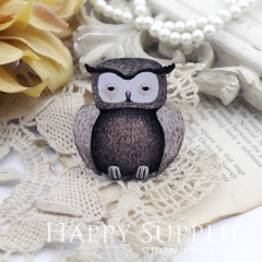 2Pcs Mini Handmade Wooden Laser Cut Animal Owl Charms / Pendants