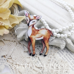 2Pcs Mini Handmade Wooden Laser Cut Deer Charms / Pendants