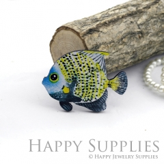 2Pcs Mini Handmade Wooden Laser Cut Fish Charms / Pendants