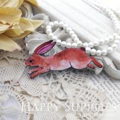2Pcs Mini Handmade Wooden Laser Cut Fox Rabbit Charms / Pendants