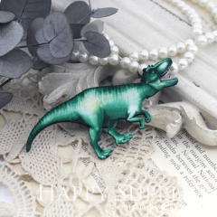 2Pcs Mini Handmade Wooden Laser Cut Dinosaur Charms / Pendants