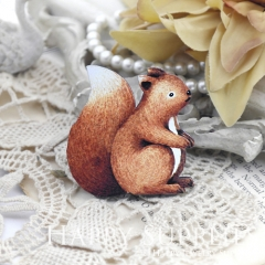 2Pcs Mini Handmade Wooden Laser Cut Animal Squirrel Charms / Pendants