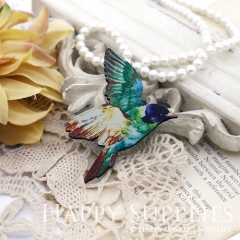 2Pcs Mini Handmade Wooden Laser Cut Bird Charms / Pendants