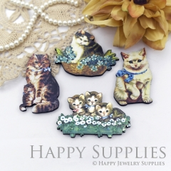 4Pcs Mini Handmade Wooden Laser Cut Cat Charms / Pendants