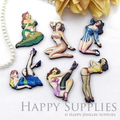 4Pcs Mini Handmade Wooden Laser Cut Lady Woman Charms / Pendants