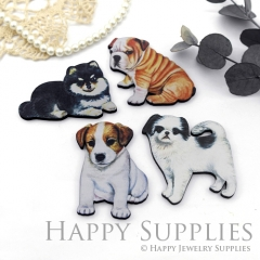4Pcs Mini Handmade Wooden Laser Cut Dog Charms / Pendants