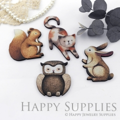 4Pcs Mini Handmade Wooden Laser Cut Animal Rabbit Squirrel Owl Cat Charms / Pendants