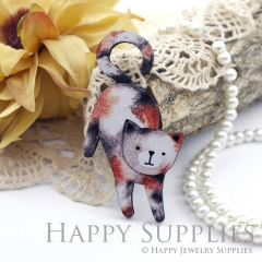 2Pcs Mini Handmade Wooden Laser Cut Animal Cat Charms / Pendants