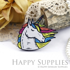 2Pcs Mini Handmade Wooden Laser Cut Unicorn Charms / Pendants